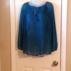 Gibson long sleeve teal/blue blouse Sz: L